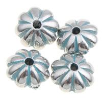 Verkupfertes Kunststoff-Perlen, Verkupferter Kunststoff, Blume, Bläu, 8x5mm, Bohrung:ca. 1mm, 1000PCs/Tasche, verkauft von Tasche