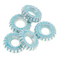 Verkupfertes Kunststoff-Perlen, Verkupferter Kunststoff, Rad, Bläu, 8x3mm, Bohrung:ca. 2mm, 1000PCs/Tasche, verkauft von Tasche