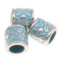 Verkupfertes Kunststoff-Perlen, Verkupferter Kunststoff, Zylinder, Bläu, großes Loch, 9x9mm, Bohrung:ca. 5mm, 1000PCs/Tasche, verkauft von Tasche