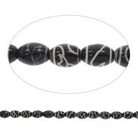 Tibetan Achat Perle, oval, schwarz, 12x16mm, Bohrung:ca. 1.5mm, ca. 22PCs/Strang, verkauft per ca. 14 ZollInch Strang