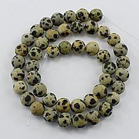 Dalmatinische Perlen, Dalmatiner, rund, natürlich, verschiedene Größen vorhanden & satiniert, Bohrung:ca. 1-2mm, Länge:ca. 14 ZollInch, verkauft von Menge