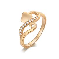 Gets® Finger Ring, Messing, Herz, vergoldet, verschiedene Größen vorhanden & mit kubischem Zirkonia, frei von Nickel, Blei & Kadmium, 12mm, verkauft von PC
