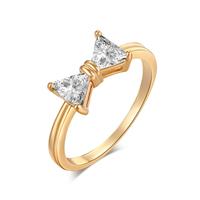 Gets® Finger Ring, Messing, Schleife, vergoldet, verschiedene Größen vorhanden & mit kubischem Zirkonia & facettierte, frei von Nickel, Blei & Kadmium, 11mm, verkauft von PC