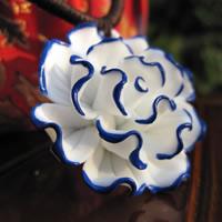 Porzellan-Anhänger, Porzellan, Blume, Handzeichnung, 15-30mm, Bohrung:ca. 1-3mm, verkauft von PC