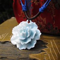 Porzellan-Anhänger, Porzellan, Blume, glaciert, 15-30mm, Bohrung:ca. 1-3mm, verkauft von PC