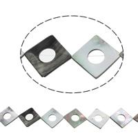 Schwarze Muschelperlen, Rhombus, natürlich, Doppelloch, 33x34x2mm, Bohrung:ca. 1mm, ca. 12PCs/Strang, verkauft per ca. 15.5 ZollInch Strang