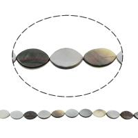 Schwarze Muschelperlen, Pferdeauge, natürlich, 18x13x2mm, Bohrung:ca. 1mm, ca. 22PCs/Strang, verkauft per ca. 15.5 ZollInch Strang