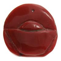 Koralle Anhänger, Natürliche Koralle, natürlich, geschnitzed, rot, 28x28x7mm, Bohrung:ca. 1mm, verkauft von PC