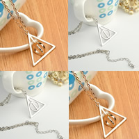Zinklegierung Schmuck Halskette, mit Eisenkette, Harry Potter Heiligtümer des Todes Symbol, plattiert, Oval-Kette, keine, frei von Blei & Kadmium, 33x35mm, verkauft per ca. 19.5 ZollInch Strang