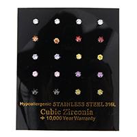 Zirkonia Ohrstecker, Edelstahl, mit kubischem Zirkonia & facettierte, gemischte Farben, 3x3x12.50mm, 10PaarePärchen/Box, verkauft von Box