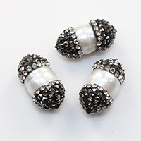 Natürliche Süßwasser, lose Perlen, Natürliche kultivierte Süßwasserperlen, mit Ton, 8-11x18-21mm, Bohrung:ca. 0.5mm, 20PCs/Menge, verkauft von Menge