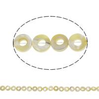 Natürliche gelbe Muschelperlen, Kreisring, 10x3mm-10x4mm, Bohrung:ca. 1mm, ca. 40PCs/Strang, verkauft per ca. 15.5 ZollInch Strang