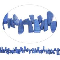 Edelstein-Span, Synthetische Türkis, Klumpen, blau, 9x12mm-11x20mm, Bohrung:ca. 0.8mm, Länge:ca. 15 ZollInch, 5SträngeStrang/Tasche, ca. 95PCs/Strang, verkauft von Tasche