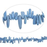 Edelstein-Span, Synthetische Türkis, Klumpen, blau, 4x10mm-6x18mm, Bohrung:ca. 0.8mm, Länge:ca. 15 ZollInch, 5SträngeStrang/Tasche, ca. 115PCs/Strang, verkauft von Tasche