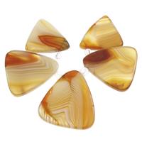 Edelstein gestaffelte Anhänger, Streifen Achat, mit Kristall, Dreieck, facettierte, gelb, 21x22x5mm-29x32x5mm, Bohrung:ca. 1.5mm, verkauft von setzen