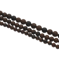 mahagonibrauner Obsidian Perle, rund, verschiedene Größen vorhanden, Bohrung:ca. 1mm, verkauft per ca. 15 ZollInch Strang