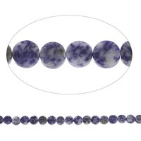 Blauer Tupfen Stein Perlen, blauer Punkt, flache Runde, 12x5mm, Bohrung:ca. 1mm, ca. 33PCs/Strang, verkauft per ca. 15 ZollInch Strang
