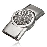 Zinklegierung Magnetverschluss, Platinfarbe platiniert, mit Strass, frei von Nickel, Blei & Kadmium, 37x20x11mm, Bohrung:ca. 15x4.5mm, 20PCs/Menge, verkauft von Menge