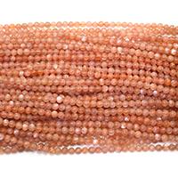 Mondstein Perlen, rund, verschiedene Größen vorhanden, orange, Bohrung:ca. 0.5mm, Länge:ca. 16 ZollInch, verkauft von Menge