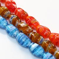 Murano Millefiori Lampwork Perle, oval, handgemacht, keine, 11-13x7-8mm, Bohrung:ca. 1mm, Länge:ca. 15.5 ZollInch, 10SträngeStrang/Menge, ca. 33PCs/Strang, verkauft von Menge