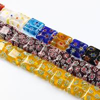 Murano Millefiori Lampwork Perle, Quadrat, handgemacht, keine, 10x10x4mm, Bohrung:ca. 1mm, Länge:ca. 14 ZollInch, 10SträngeStrang/Menge, ca. 32PCs/Strang, verkauft von Menge