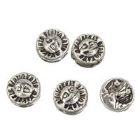 Zinklegierung flache Perlen, flache Runde, antik silberfarben plattiert, frei von Blei & Kadmium, 8x4mm, Bohrung:ca. 1mm, 100G/Tasche, verkauft von Tasche