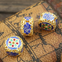 Sterling Silber Cloisonne Perlen, Trommel, handgemacht, hohl, 14x10mm, Bohrung:ca. 1mm, verkauft von PC