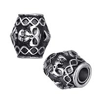Zinklegierung Magnetverschluss, Edelstahl, oval, mit Totenkopf-Muster & Schwärzen, 12x13x12mm, Bohrung:ca. 4mm, 20PCs/Menge, verkauft von Menge