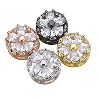 Kubischer Zirkonia Messing Perlen, Blume, plattiert, mit kubischem Zirkonia, keine, frei von Nickel, Blei & Kadmium, 10.50x5.50mm, Bohrung:ca. 1.5mm, 10PCs/Menge, verkauft von Menge