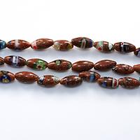 Murano Millefiori Lampwork Perle, oval, handgemacht, Goldsand, 11-12x6mm, Bohrung:ca. 1mm, Länge:ca. 14.5 ZollInch, 10SträngeStrang/Menge, ca. 32PCs/Strang, verkauft von Menge