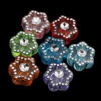 Silberdruck Acrylperlen, Acryl, Blume, transparent, gemischte Farben, 8x4mm, Bohrung:ca. 1mm, ca. 3600PCs/Tasche, verkauft von Tasche