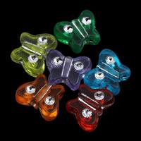 Silberdruck Acrylperlen, Acryl, Schmetterling, transparent, gemischte Farben, 11x8x4mm, Bohrung:ca. 1mm, ca. 2100PCs/Tasche, verkauft von Tasche