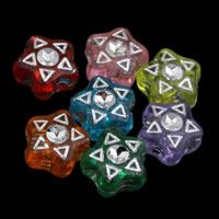 Silberdruck Acrylperlen, Acryl, Stern, transparent, gemischte Farben, 7x4mm, Bohrung:ca. 1mm, ca. 4350PCs/Tasche, verkauft von Tasche