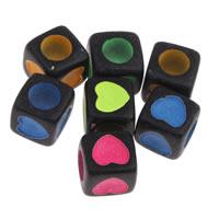 Volltonfarbe Acryl Perlen, Würfel, mit einem Muster von Herzen, gemischte Farben, 7x7mm, Bohrung:ca. 3mm, ca. 1950PCs/Tasche, verkauft von Tasche
