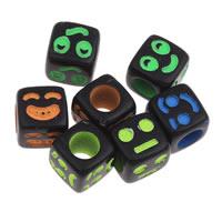 Acryl Gesichtsausdruck Beads, gemischt & Volltonfarbe, schwarz, 6x6mm, Bohrung:ca. 3mm, ca. 2850PCs/Tasche, verkauft von Tasche