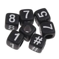 Anzahl Acrylkorn, Acryl, Würfel, mit einem Muster von Nummer & Volltonfarbe, schwarz, 6x6mm, Bohrung:ca. 3mm, ca. 2750PCs/Tasche, verkauft von Tasche