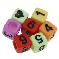 Anzahl Acrylkorn, Acryl, mit einem Muster von Nummer & gemischt & Volltonfarbe, 6x6mm, Bohrung:ca. 3mm, ca. 2750PCs/Tasche, verkauft von Tasche