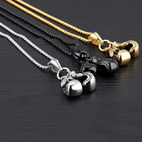 Edelstahl Schmuck Halskette, Boxhandschuh, plattiert, Kastenkette & für den Menschen & Schwärzen, keine, 10x26mm, verkauft per ca. 21.6 ZollInch Strang