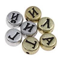 Alphabet Acryl Perlen, flache Runde, verschiedene Stile für Wahl & mit Brief Muster, 6x3mm, Bohrung:ca. 1mm, ca. 3600PCs/Tasche, verkauft von Tasche