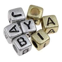 Alphabet Acryl Perlen, Würfel, plattiert, gemischtes Muster & mit Brief Muster, keine, 6x6mm, Bohrung:ca. 3mm, ca. 3000PCs/Tasche, verkauft von Tasche