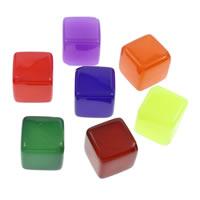 Gelee-Stil-Acryl-Perlen, Acryl, Würfel, Gellee Stil, keine, 18x18mm, Bohrung:ca. 2mm, 10PCs/Tasche, verkauft von Tasche