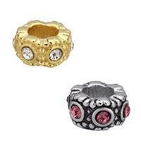 Strass Perlen European Stil, Edelstahl, Rondell, plattiert, ohne troll & mit Strass, keine, 10x5.50mm, Bohrung:ca. 5mm, 10PCs/Menge, verkauft von Menge