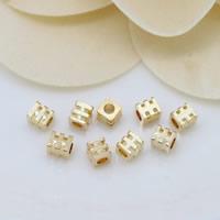 24K Gold Perlen, Messing, Rechteck, 24 K vergoldet, frei von Nickel, Blei & Kadmium, 3x3.50mm, Bohrung:ca. 1mm, 100PCs/Menge, verkauft von Menge