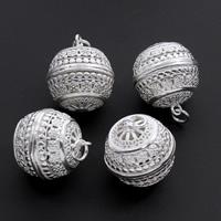 Messing hohle Perlen, rund, versilbert, frei von Blei & Kadmium, 15x20mm, Bohrung:ca. 4mm, verkauft von PC