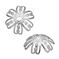 Edelstahl Perle Kappe, Blume, hohl, originale Farbe, 14x14x2mm, Bohrung:ca. 1mm, 1000PCs/Menge, verkauft von Menge