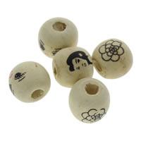 Holzperlen, Holz, rund, Kunstdruck, gemischtes Muster, 12mm, Bohrung:ca. 1mm, ca. 1000PCs/Tasche, verkauft von Tasche