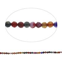 Natürliche Crackle Achat Perlen, Geknister Achat, rund, facettierte, gemischte Farben, 4mm, Bohrung:ca. 0.5mm, Länge:ca. 14.5 ZollInch, 10SträngeStrang/Tasche, ca. 92PCs/Strang, verkauft von Tasche