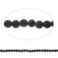 Natürliche Effloresce Achat Perlen, Auswitterung Achat, rund, facettierte, schwarz, 8mm, Bohrung:ca. 1mm, Länge:ca. 14.5 ZollInch, 5SträngeStrang/Tasche, ca. 47PCs/Strang, verkauft von Tasche