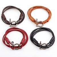 Unisex-Armband & Bangle, Kuhhaut, Zinklegierung Verschluss, antik silberfarben plattiert, 2 strängig, keine, verkauft per 13.5-15 ZollInch Strang