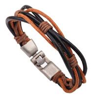 Unisex-Armband & Bangle, Kuhhaut, mit Gewachste Nylonschnur, Zinklegierung Verschluss, antik silberfarben plattiert, verkauft per ca. 8.6 ZollInch Strang